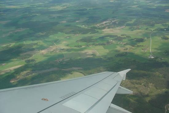アーランダ空港発の飛行機からの眺め