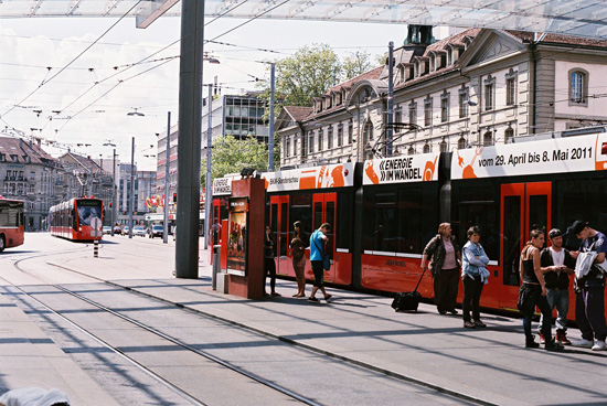 ベルン市街のトラム